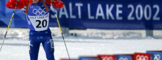 Skiskytter på vei inn mot mål